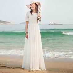 Women's Round Lantern Sleeve White Maxi Chiffon Beach Dress – USD $ 21.99