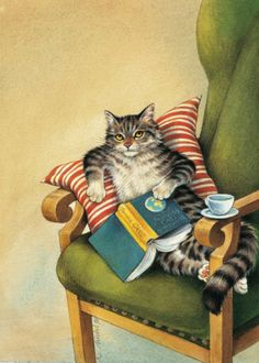 "Reading Cat postcard © Reinhard MICHL (Artist. Bavaria, Germany).  1.00 €  From the book ""Die Kuh in den Wolken"" / The Cow in the Clouds available at http://www.amazon.de/Die-Kuh-Wolken-Nathan-Zimelman/dp/3570122247. Artist site: http://www.reinhard-michl.de/ ... KEEP attribution & artist site link when repinning or posting to other social media (ie blogs, twitter, tumblr etc). -pfb ... See: http://www.pinterestnews.org/2012/06/23/beginner  Give credit where due."