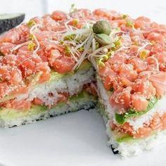 Sushi cake avocado, cucumber and salmon