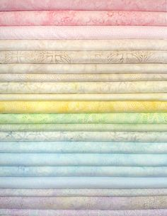 Pastel Batik Fabric Strips Great for a baby quilt, or any time you need some light colored batiks! Three pink, a peach, three ecr, three yellow, three green, four blue, and three lilac/lavender.