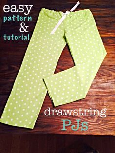 Easy-Sew PJ Pants - Great project for a beginner with a picture tutorial and printable pattern -from Doodles & Stitches