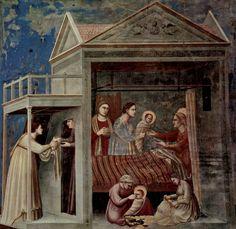 Giotto di Bondone.  Freskenzyklus in der Arenakapelle in Padua (Scrovegni-Kapelle), Szene: Maria Geburt.1304-1306, Fresko.Padua, Cappella degli Scrovegni all'Arena.Italien.Gotik, Vorrenaissance.  KO 00352