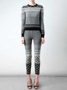 Gray Fair Isle Knitted Wool Leggings & Sweater. Black and grey fairisle stretch knitted wool leggings from Opening Ceremony.