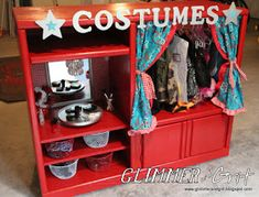 Glimmer And Grit: Old Entertainment Center Turned Costume Closet and Dress-Up Vanity