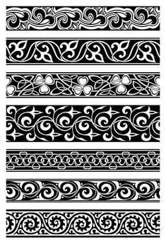 Illustration of set of seven seamless floral borders vector art, clipart and stock vectors. Border Pattern, Border Design, Pattern Art, Pattern Design, Carving Designs, Stencil Designs, Feuille Aluminium Art, Baroque Pattern, Diy Tattoo