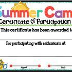 Summer camp participation certificate 1 certificate camping and summer camp participation certificate 5 yadclub Choice Image