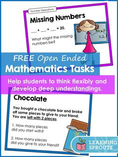FREEBIE: These addition and subtraction tasks are great for introducing open ended problems to students. Math Story Problems, Word Problems, Math Addition, Addition And Subtraction, Year 1 Maths, Maths Investigations, Math Talk, Math Challenge, Fifth Grade Math