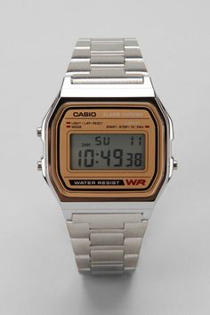 ce3dee069b0 Shop Casio Chrome   Gold Digital Watch at Urban Outfitters today.