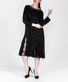 Loving this Black Pleated Lace-Back Midi Dress - Plus Too on #zulily…