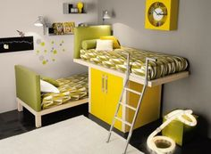 Two Beds Kids Room in Green and Yellow   I would do way different colors but this is really cool!