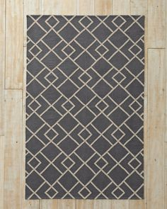 "Garnet Hill Deco Diamond Flat-Weave Wool Rug 3'6"" x 5'6 $188 (looks more blue in other photos)"