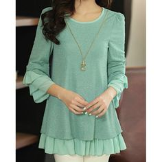 Chiffon Splicing 3/4 Sleeve Round Collar Ruffled Loose Blouse For Women