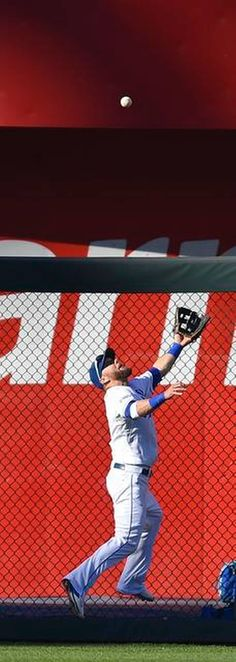 Kansas City Royals left fielder Alex Gordon made a catch at the wall on a ball hit by Baltimore Orioles shortstop J.J. Hardy in the fifth inning at Wednesday's ALCS playoff baseball game on October 15, 2014 at Kauffman Stadium in Kansas City, MO.