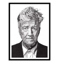 David Lynch - Rik Reimert. Black and White Portrait Drawing. Art-Poster and prints published by Wall Editions. Illustration Format : 50 x 70 cm