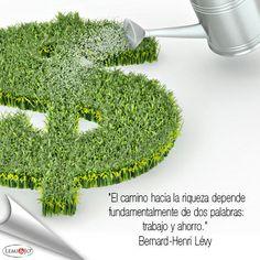 """""""El camino hacia la riqueza depende fundamentalmente de dos palabras: trabajo y ahorro."""" Bernard-Henri Lévy http://blog.ods.com.mx/"""