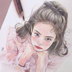 bleistiftzeichnung Like & Love Kpop Drawings, Art Drawings, Chica Gato Neko Anime, Kpop Anime, Dibujos Tumblr A Color, Wallpaper Wall, Black Pink Kpop, Fan Art, Kpop Fanart