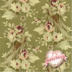 "Penny Rose 616-12 Light Green by Newcastle Fabrics: Penny Rose is a collection by Newcastle Fabrics. 100% cotton. 43/44"". This fabric features a bird and floral stripe design on a light green background."