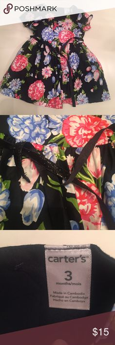 Floral holiday baby dress Never worn! Beautiful dress with black metallic ribbon belt Carter's Dresses Formal