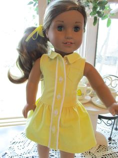 """Lemony Yellow Summer Doll Dress to fit your 18"""" American Girl Doll by Emmakate0 on Etsy"""