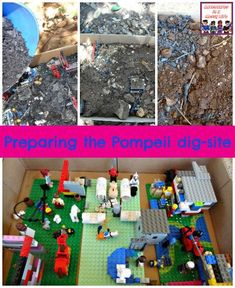 dig up the buried city of Pompeii with this fun and educational pretend archeological dig #historylesson #legohistory #homeschooling Rome Activities, History Activities, Hands On Activities, Lessons For Kids, Projects For Kids, Legos, Romans Ks2, Ancient Pompeii, Pompeii Ruins