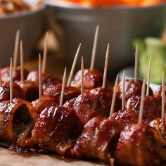 BBQ Bacon Ice Tray Meatballs Love this. Sooo will use turkey bacon instead. Meat Recipes, Appetizer Recipes, Cooking Recipes, Party Appetizers, Cleaning Recipes, Cheese Appetizers, Party Recipes, Cleaning Products, Cheese Recipes
