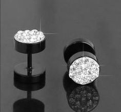 KUNIU Stylish Stud Earrings Black with White Crystal Material Stainless Steel Barbell Pattern Earring For Men Women Rhinestone Jewelry, Bridal Jewelry, Diamond Jewelry, Diamond Earrings, Stud Earrings For Men, Plugs Earrings, Ear Studs, Stainless Steel, Necklaces