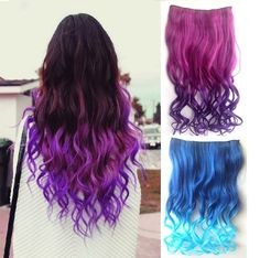 26 Full Head Clip in Synthetic Colorful Hair Extensions Human Made Hair WN# Punk Curly Clip-In Curly Ponytail Hairpiece Hair Extensions. - Looking for Hair Extensions to refresh your hair look instantly? Rainbow Hair Extensions, Colored Hair Extensions, Synthetic Hair Extensions, Clip In Extensions, Human Hair Extensions, Purple Extensions, Long Hair Wigs, Long Curly Hair, Curly Hair Styles