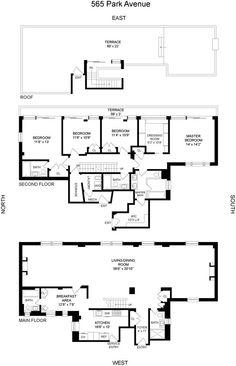 565 Park Avenue in Lenox Hill, - Sales, Rentals, Floorplans Townhouse Apartments, New York Apartments, Penthouse Apartment, Condo Floor Plans, Apartment Floor Plans, House Plans, Lenox Hill, Architect Drawing, Property Records