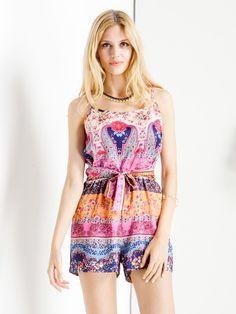 Multicolor Boho Print Tie Waist Cami Romper Playsuit   Choies