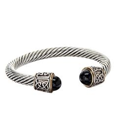 Look what I found on #zulily! Onyx & Silvertone Celtic Knot Cable Cuff #zulilyfinds