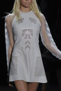 Alexander Wang, spring 2012, future fashion, white dress, futuristic clothing, cyberpunk style, futuristic girl, transparent by FuturisticNews.com