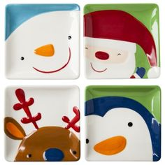 Snowman, Reindeer, Santa, Penguin Appetizer Plate Set of 4   These are so cute! And, they are only $9.99!