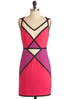 Fun Shall Pass Dress - Short, Pink, Purple, Tan / Cream, Black, Color Block, Party, Sheath / Shift, Multi, Sleeveless, Summer