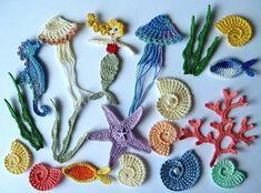 Crochet Seashell Applique, Crochet Fish, Beach Crochet, Freeform Crochet, Love Crochet, Irish Crochet, Knit Crochet, Crochet Designs, Crochet Patterns