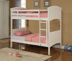 Best Quality Girls Wood Twin over Twin Bunk Bed in Cream Finish
