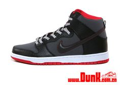 Nike SB Dunk High - Black / Dark Grey - Hyper Red