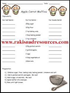 Doubling and Halving Recipes Worksheets | Facs Exploration ...