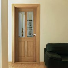 Bristol 2 Light Oak Door with Clear Safety Glass incorporating 3 Sandblasted Lines. Oak Doors, Panel Doors, Windows And Doors, Kitchen Door Designs, Kitchen Doors, Oak Skirting Boards, House Doors, Safety Glass, Light Oak
