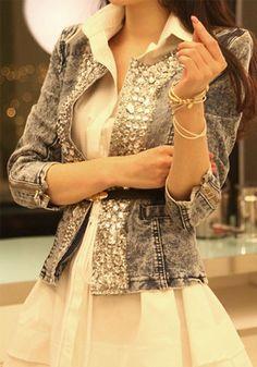 Blue Diamond Pockets V-neck Denim Trench Coat