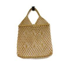 Vintage 70's Macrame Purse Handbag Tote Brown Natural Woven Boho Hippie Net Crochet Festival Handmade