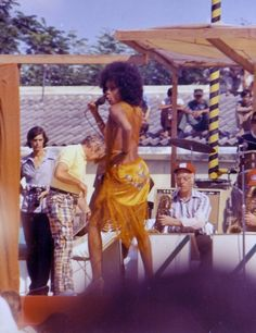 Lola Falana performs for the troops in Vietnam on Bob Hope's final foreign USO Tour, 1972.