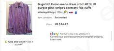 Bugatchi Uomo dress shirt $4 at Goodwill, sold for $34.97  Learn to sell preowned clothing on eBay!
