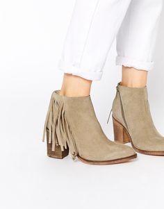 ASOS RILEY Suede Western Fringe Ankle Boots