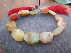 Full Strand,Cantalope Agate Hammer Faceted Oval beads, (ITEM ID:- E-2058) by JaiVyavsayBeads on Etsy