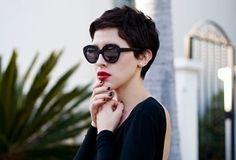 Curly Pixie Cut with Karen Walker Sunglasses