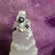 """Wire Wrapped Silver """"Snake"""" Ring with Hematite and Faux Vintage Pearl Beads - Size 11.5 #Handmade #jewelry #vintage #hematite #beads #beaded #ring #accessories #silver #wirewrapped #snake #spiral"""
