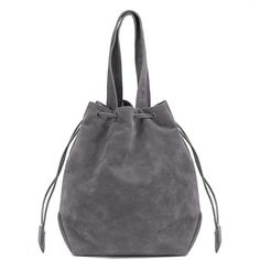 Yoins Grey Suede-look Drawstring Bucket Bag (266.145 IDR) ❤ liked on Polyvore featuring bags, handbags, shoulder bags, grey, suede bucket bags, drawstring shoulder bag, suede purse, grey handbags and drawstring handbags