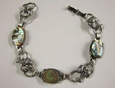 Sterling Silver Abalone Palm Trees Bracelet from La by COBAYLEY