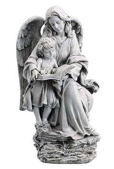 "Guardian Angel With Child Garden Statue Beautiful state of an angel reading to a child. Perfect for any garden or memorial area. Made of resin and stone Measures 19"" Tall"