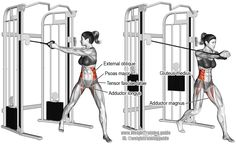 Cable wood chop (aka cable up-down twist or cable wood chopper). A compound exercise. Target muscles: Internal and External Obliques. Synergists: Tensor Fasciae Latae, Gluteus Medius, Gluteus Minimus,(Fitness Workouts Waist)